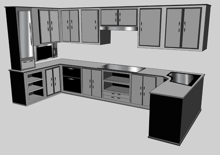 kitchen counter isolated on gray background Ilustrace
