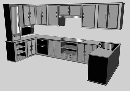 modern kitchen: kitchen counter isolated on gray background Illustration