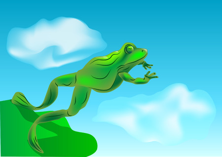 overhang: leap  toad jumping off a cliff into the sky Illustration