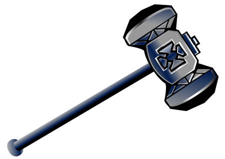 dwarven hammer isolated on a white background Ilustração