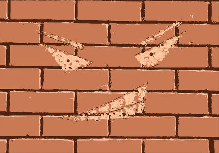 faceless: faceless grin on a red brick wall