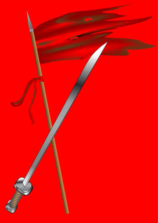 fallen: song of fallen  flag and sword on red background