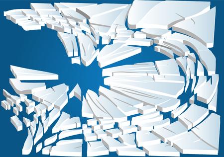 floe: broken ice on blue water Illustration