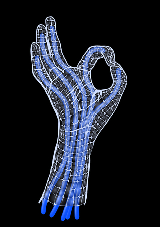 cybernetics: robotics  abstract artificial hand isolated on black Illustration