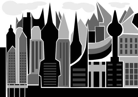 skyscape: silueta skyscape de la ciudad abstracta aislado en blanco Vectores