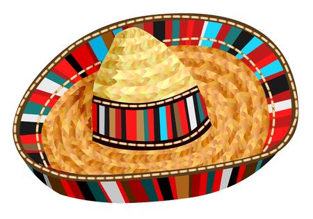 白い背景に分離されたソンブレロ メキシカン ハット  イラスト・ベクター素材