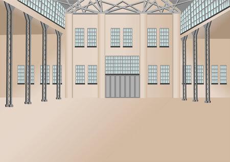 storehouse: interior del almac�n de gran almac�n moderno Vectores