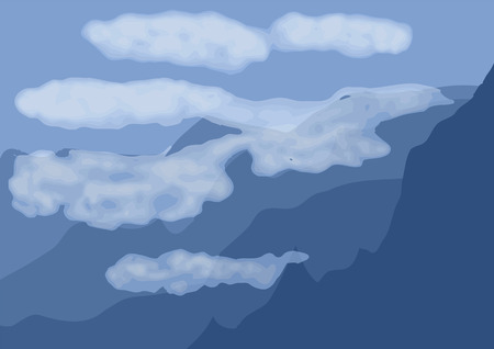 arial: arial landscape  blue mountain and white cloud Illustration