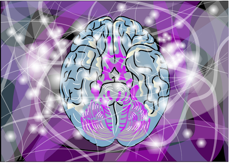 impulses: brain activity  abstract brain with multicolor line and light
