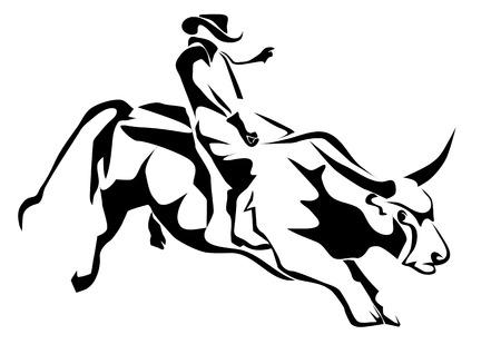 Vaquero silueta monta de toros y isolatd toro en blanco Foto de archivo - 30403433