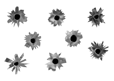 bullet hole: bullet holes  set os bullet holes isolated on white Illustration