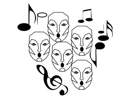 chorus: choir singing isolated on a white background