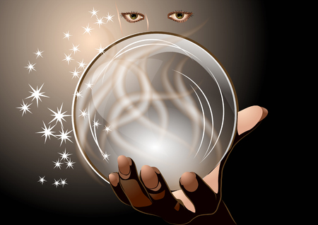 clairvoyant  abstract woman with magic ball on dark background
