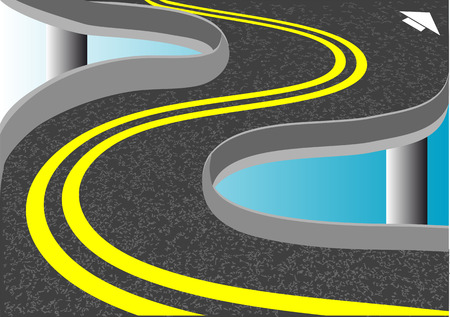double lane: double yellow lines on abstract road agaist a sky Illustration