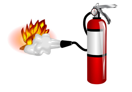 fire extinguisher use  extinguisher and fire isolated on white Vettoriali