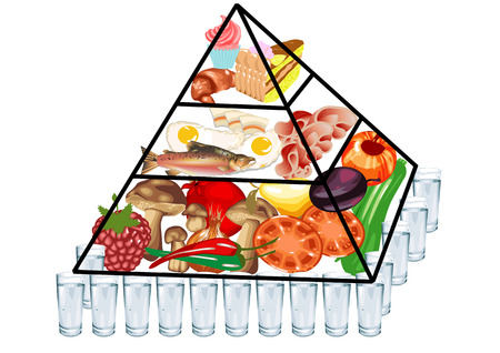 piramide nutricional: pirámide de los alimentos aisladas sobre un fondo blanco Vectores