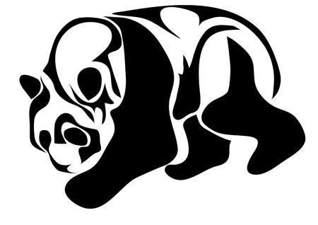 �  giant panda: silueta panda gigante de animales aislados en blanco Vectores