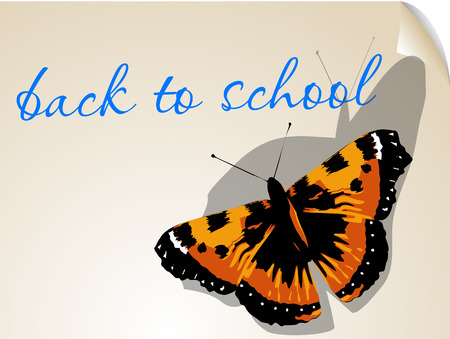 ilustration: back to school. background with butterfly ans text