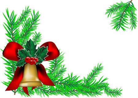 campanas de navidad: campana de Navidad y árbol de año nuevo. De fondo de Navidad