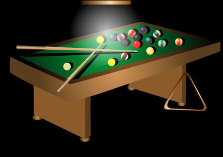 pool tables: billiards table and billiards ball isolated on black