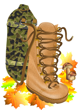 boot traveling ion autumn leves solated on the white background