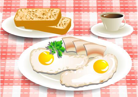 朝食のコーヒー、卵、市松模様のテーブル クロスの上のベーコン