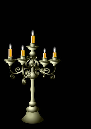 candelabrum: silver candelabrum with cadles isolated on the black background