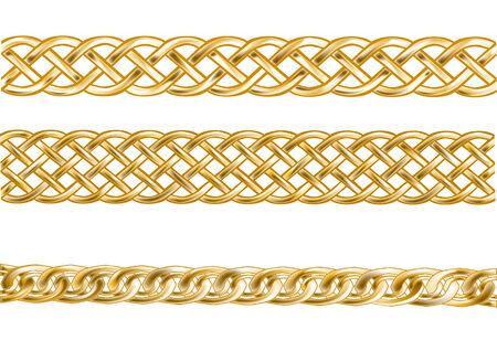 joyas de oro: tres cadenas de oro aislado en un fondo blanco Vectores