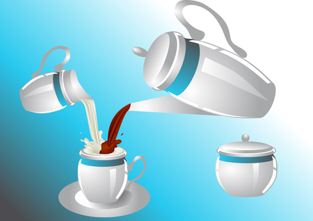 creamer: coffee service with poorin milk and coffee  sugar bowl, creamer, coffee pot and cup