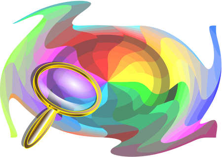 multicolor background and magnifier isolated on white