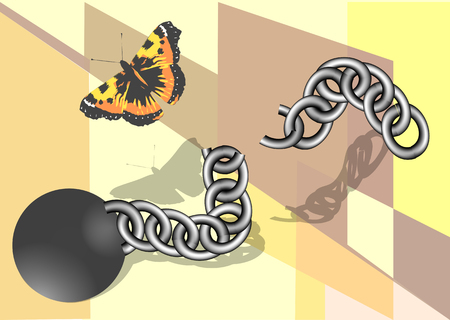 convict: chain and butterfly. Convict