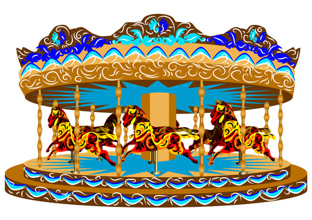 carousel with horses. funny colorful carousel isolated on white background Vector