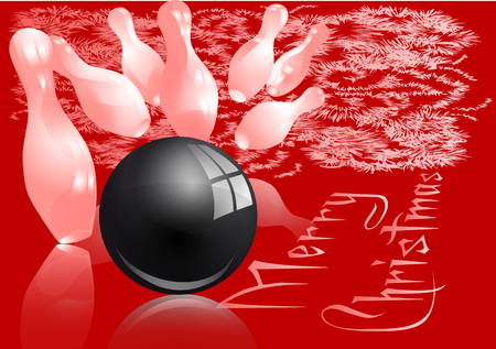 Christmas bowling strike. Red and white abstract background