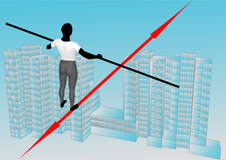 rope walker: concept of business growth. rope walker, city and sky
