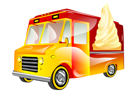 ice cream van isolated on a white background Vector