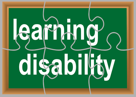 dyslexia: learning disability. text in green deskboard as puzzle Illustration