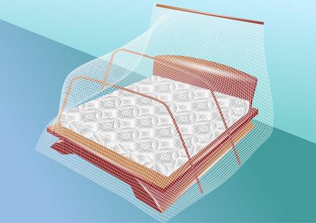 net: white mosquito net on the sleeping bad