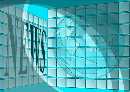 newsroom. empty room with scrins and abstract globe Vector
