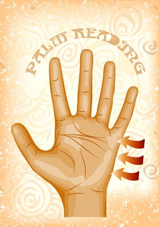 손바닥 독서. 추상적 인 배경에 인간의 손에 일러스트
