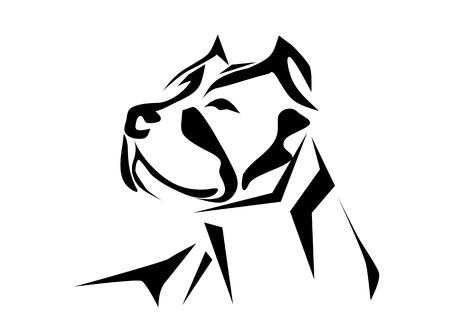 핏불. 흰색 배경에 고립 된 강아지의 실루엣 일러스트