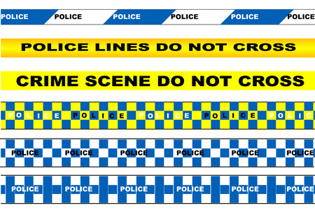 police tape. set of police tape isolated on white background Vector