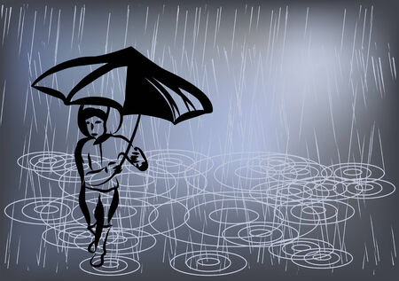 raining: raining day. boy with umbrella under water Illustration