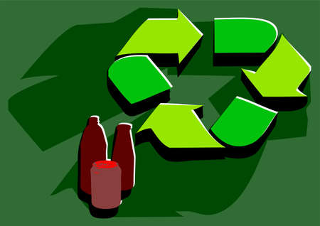 facility: recycling facility. sign in flat color and bottle