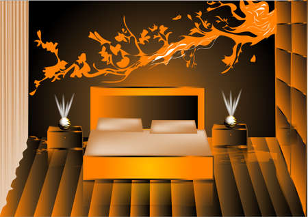 headboard: render night bedroom. vector background in 10 EPS Illustration