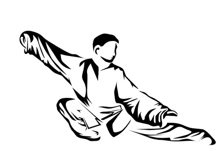 tai chi: tai chi. silhouette of man isolated on whit background