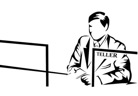 白い背景に分離された銀行の出納係  イラスト・ベクター素材