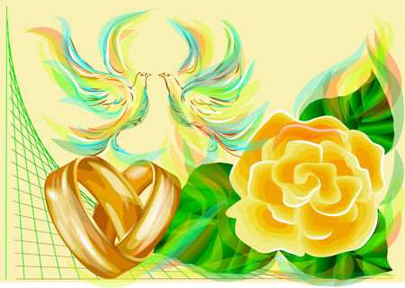wedding rings and roses with abstract dove Vector