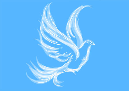 dove on blue. symbol of peace and love