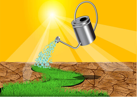 new grass. watering can with water drops and grass Vektorové ilustrace