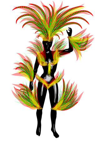 colorific: carnival brazil. abstract woman silhouette in carnival costume